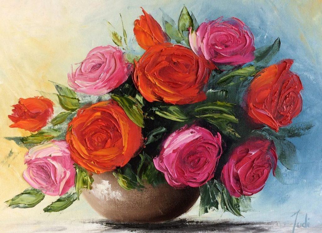 Vase of Roses Oil Painting Warner Street Accrington